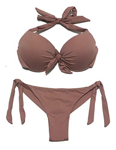EONAR Damen Bademode Nackenträger Push up Bikinioberteil mit Underwire Niedriger Bund Bikinihosen Seitlich zu binden Brazil-Bikinislip Bikini-Sets(M,Khaki)