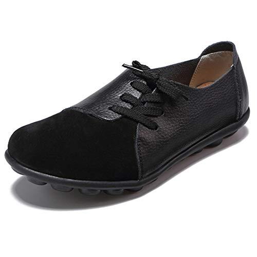 Hsyooes Damen Mokassin Bootsschuhe Leder Loafers Fahren Flache Schuhe Halbschuhe Slippers Erbsenschuhe, Schwarz 8, (Herstellergröße: 43/42.5 EU)
