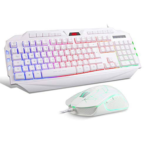 Gaming Tastatur mit Maus DE-Layout QWERTZ Gaming Tastatur und Maus Weiß 6 ADJUSTABLE DPI-(600/800/1200/1600/2400/3200 DPI Einstellbar)Rainbow Hintergrundbeleuchtung Gaming Keyboard for Xbox One PS4 PC