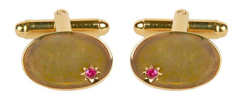 Ovale avec Ruby – Boutons de manchette plaqué or. Une paire de boutons de manchette/Pince à cravate ou othet Accessoire... Le cadeau idéal pour certai
