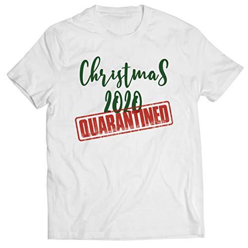 lepni.me Maglietta da Uomo Natale 2020 in Quarantena Insieme Vacanze Abbigliamento per Famiglie (Medium Bianco Multicolore)