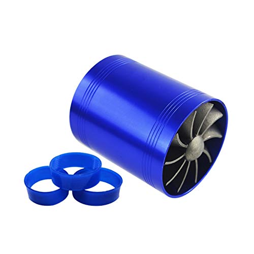 SSGLOVELIN Turbina de automóvil Supercharger y 3 Cubiertas de Goma 3000RPM Doble Turbo Cargador Filtro de Aire Ventilador de admisión de Combustible Kit de Ahorro de Gas (Color : Blue)