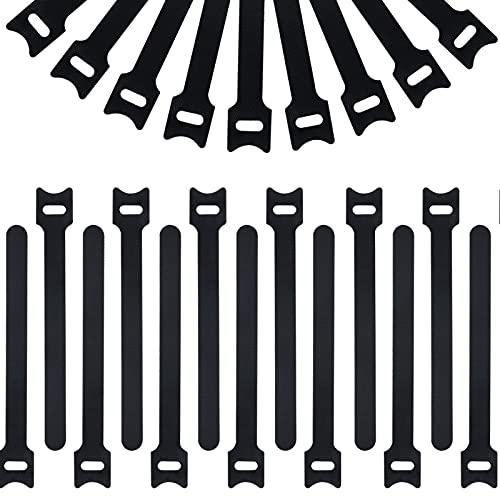 SerDa-Run 200 Piezas Organizador de Cables Reutilizables Bridas Velcro Negro Set de...