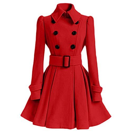 SHOBDW Mujer Liquidación de la Venta Tops de Manga Larga de Moda Espesar cálida Lana Parka Chaqueta de la Correa del Vestido de la Solapa Outwear sólido Abrigos de Invierno (M, Rojo)