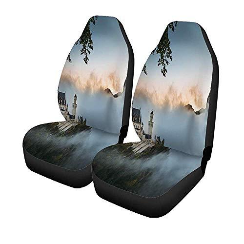 Beth-D set van 2 autostoelhoezen nieuwe steen New Swan Stone Castle In de herfst Duitsland landschap universele auto voorstoelen protector 14-17IN