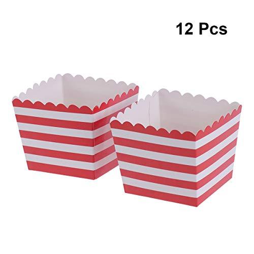 BESTOYARD Caja de Palomitas de Maíz Palomitas de Pollo de Papel de Rayas Rojo para Partido Cumpleaños Graduación 12pcs