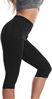 Rolewpy Neoprene Sauna Sweat Shorts for Women Weight Loss Workout Thigh Pants with Pocket Slimming Hot Thermo Sport Capris