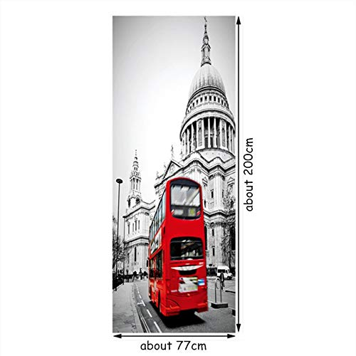 77 * 200 cm Estilo londinense 3D Etiqueta de la Puerta Big Ben Cabina telefónica Street View Wall Art Mural Vintage decoración del hogar Papel Tapiz de Vinilo