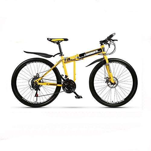 RGYZD 26-inch Folding Self-propelled Mountain Bike Adult Integrated Racing Off-Road Variable Speed Bicycle (Color : Yellow, Size : 21)