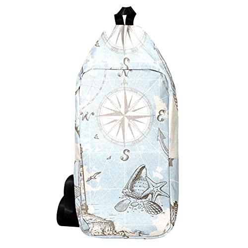 EZIOLY Landkarte Kompass Leuchtturm Schulterrucksack Sling Bag Crossbody Tasche Reise Wandern Tagesrucksack für Männer Frauen