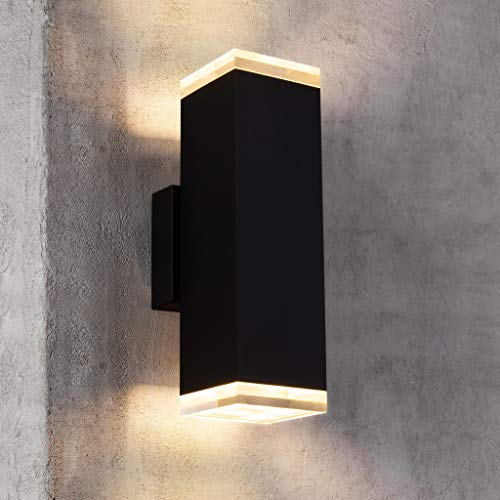 Cerdeco 91188TZ Brandon LED Outdoor Wall Lamp, Matte Black Painted, 3000K Warm White Light