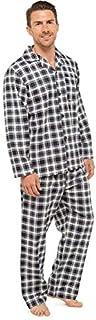 Tom Franks Men's Traditional Check 100% Brushed Cotton Flannel Long Sleeve Top & Bottoms Pyjama Set, Grey, Large