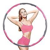 EOSVAP Hula Hoop - Aro de hula hoop para pérdida de peso ajustable, extraíble, para adultos y niños, 73-96 cm de diámetro, color rosa y gris