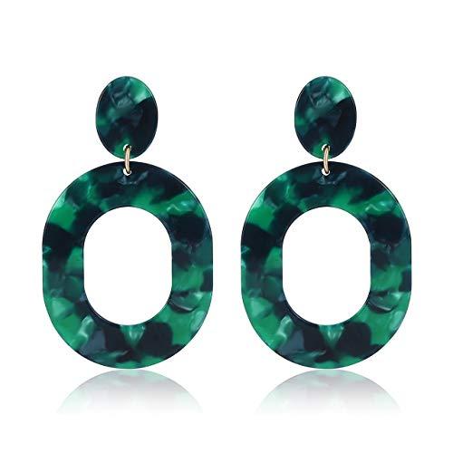 Acrylic Earrings For Women Girls Statement Geometric Earrings Resin Acetate Drop Dangle Earrings Mottled Hoop Earrings Fashion Jewelry (Green)