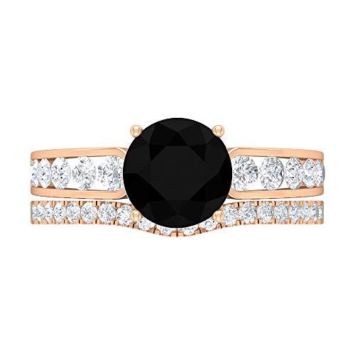 Anillo de diamante negro solitario de 8 mm, anillo de compromiso con detalles de diamante HI-SI, anillo de novia solitario, anillo de eternidad de oro, 10K Oro rosa, Size:EU 57