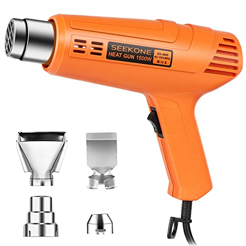 SEEKONE Heat Gun 1500W Heavy Duty Hot Air Gun Kit with 800℉&1112℉ Dual-Temperature Settings, 4 Nozzles and Overload Protection for Crafts, Shrinking PVC, Stripping Paint