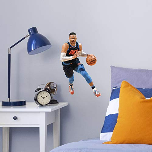 Fathead NBA Oklahoma City Thunder Russell Westbrook Officially Licensed Removable Wall Decal, Multicolor, Large - 1900-00308-005