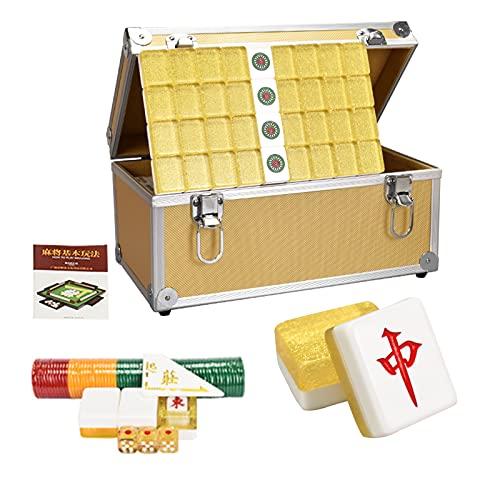 168 Pcs Mahjong de Viaje Portátil Mah-Jongg con Caja Mahjong, Juego de Mahjongg Tradicional Chino con Caja Tablero Juego de Mesa, para Familiar Fiesta Tiempo Libre, Dorado