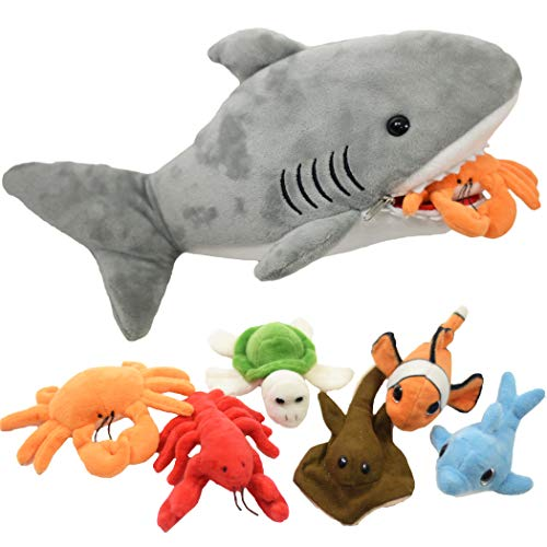 Plush Shark 15 Inch with 6 Soft Baby Sea Creatures for Hungry Great White Shark Plushie Stuffed Animal to Eat Including Crab, Lobster, Stingray, Dolphin, Turtle, & Clown Fish - Eating Shark Plush
