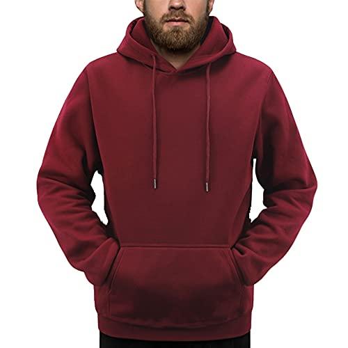 Color puro Hombres Ropa Deportiva Moda Impresión Mens Sudaderas Pullover Hip Hop Hombres, rojo oscuro, M
