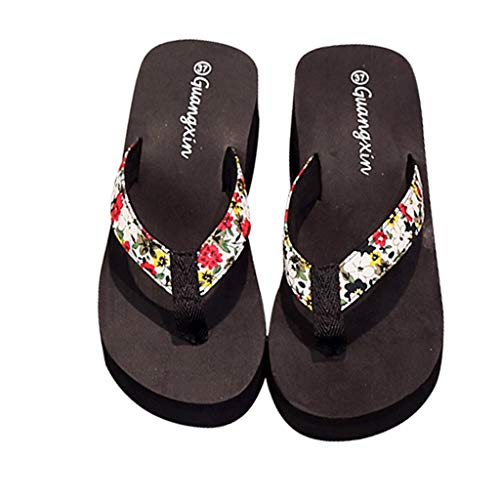 Luckycat Chanclas Zapatillas de Playa de tacón Alto Beach Sandalias de Mujer de Desgaste Exterior de Verano Sandalias Antideslizantes con Fondo Grueso Casual Zapatillas de casa
