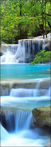 wandmotiv24 Türtapete Wasserfall im Wald 70 x 200cm (B x H) - Papier Sticker für Türen, Tür-Bilder, Aufkleber, Deko Wohnung modern M0485