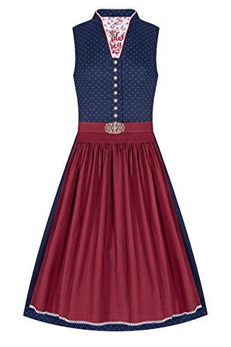 Edelheiss Midi Dirndl 65 cm dunkelblau dunkelrot 004460, Rocklänge: ca. 65 cm, mit Stehkragen, hochgeschlossen, Blumenmuster, dunkelrote Schürze mit Vintage-Schließe 44