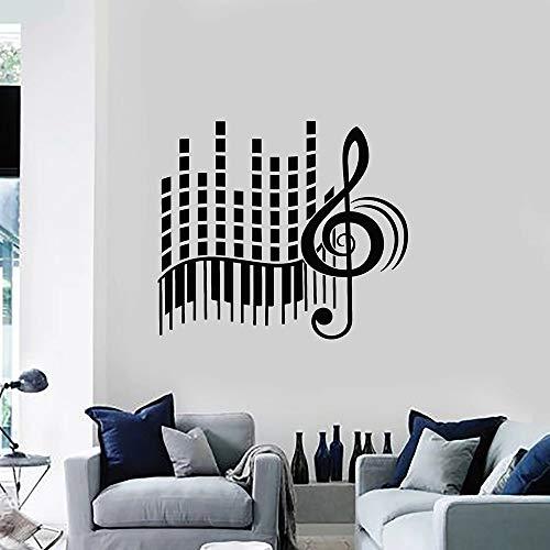 jiushivr Liebe Musik Vinyl Wandtattoo Wohnzimmer Stereo Violinschlüssel Abstrakte Klavier Große Wandaufkleber Dekoration Schlafzimmer Kunstwand 57x64 cm