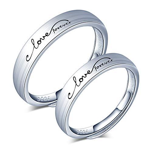 CPSLOVE Anillo de plata de ley 925 para pareja, anillos de boda'love forever', tamaño ajustable, Anillo de compromiso