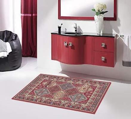 tappeto salotto leggero SpazioTessile Tappeto Arredo Cotone Leggero Antiscivolo Motivo Persiano 3 Colori 11 Misure 01P (Beige