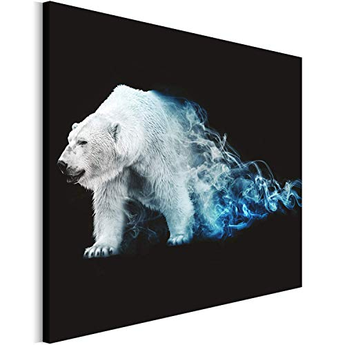 Revolio 70x50 cm Leinwandbild Wandbilder Wohnzimmer Modern Kunstdruck Design Wanddekoration Deko Bild auf Leinwand Bilder 1 Teilig - Grafik Eisbär Rauch Weiß Blau