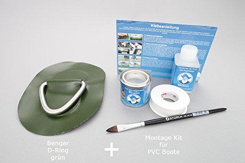 Set: D-ring + lijm kit, beslag om op te plakken voor opblaasbare boten (groen) DR-K1