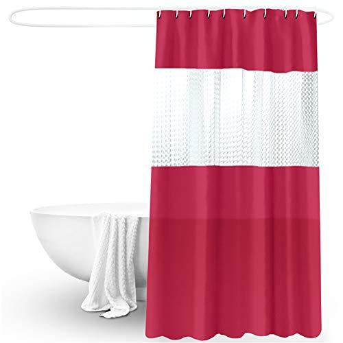 Lindong Einfach Sauber Duschvorhang PVC Halb-Transparent Wasserdicht Antibakteriell Waschbare Textil Badewannevorhang Viele Farben Wählbar 180x200cm weinrot