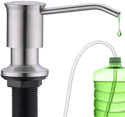 CREA Seifenspender Einbau Küche Spülmittelspender aus Edelstahl Dispenser für Spülbecken mit 500ML Flasche und 1,0 m Verlängerungsschlauch Set, Das Direkt an Die Seifenflasche Anschließen