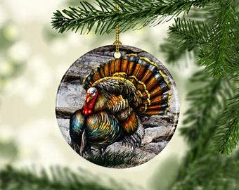 DKISEE Unique Embellishments Round Shaped Ceramics Porcelain Ornament Wild Turkey Christmas Holiday Decor