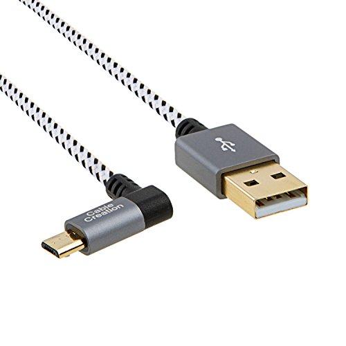 Micro USB Kabel Winkel,CableCreation kurz (3.2ft) links Winkel Micro USB 2.0 geflochten Kabel, 90 Grad vertikal links kurz USB 2.0 A Stecker auf Micro USB Stecker mit Aluminiumgehäuse,15cm, Space Grau