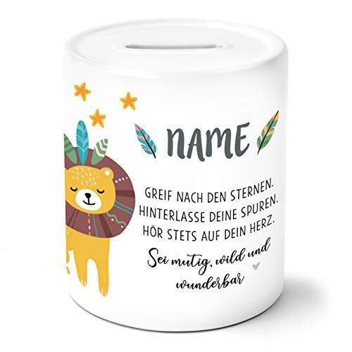 OWLBOOK Boho Löwe Kinder Spardose Personalisiert mit Namen Geschenke Geschenkideen für Mädchen zum Geburtstag Weihnachten Einschulung Taufe Geburt Sparschwein