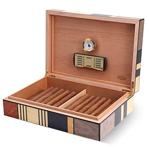 N \\ A Große Zigarren Humidor Hülle, Zedernholz-Zigarren-Aufbewahrungsbox mit Hygrometer und Luftbefeuchter, fasst ungefähr 40-60 Zigarren für Männer