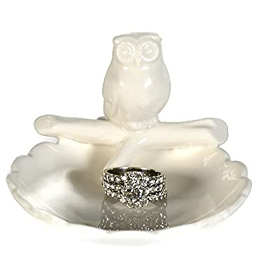 Beth Marie Luxury Boutique Owl Ring Holder Dish, Cute White Ceramic Engagement & Wedding Ring Holder, Measures 3.25  Wx2.25 Hx3.75 D