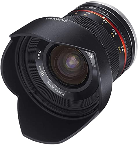 Samyang 12mm F2.0 APS-C Fuji X schwarz - APS-C Weitwinkel Festbrennweite Objektiv für Fuji X, manueller Fokus, für Kamera X-T4, X-T30, X-T200, X-Pro3, X-A7, X-A5, X-T100, X-T3, X-E3
