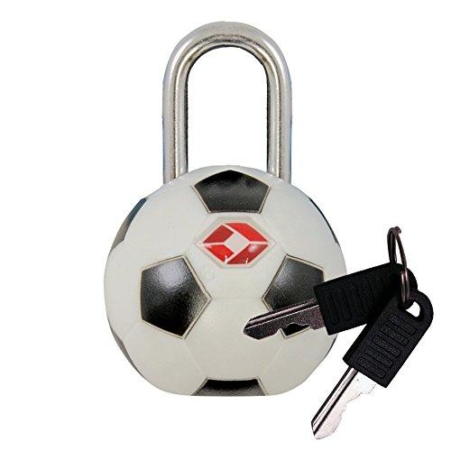 Stanley TSA Fussballschloss Vorhangschloss in Fussballform (2 Schlüssel, Bügelschloss) S742-165