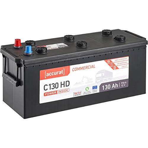 Accurat 12V LKW-Batterie 130Ah 910A Commercial C130 HD Starter-Batterie für Nutzfahrzeuge, Land- und Baumaschinen, wartungsfrei