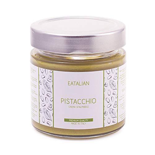 EATALIAN Smeerbare pistachecrème 200 gr, pistachecrème Natuurlijke en Siciliaanse proteïne, proteïnepasta Made in Italy Superieure kwaliteit. Zoete smaak Ideaal op brood en voor het vullen van taarten.