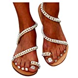 FABIURT Cheap Flat Sandals for Women Under 10 Dollars Women Summer Flats Fashion Bohemia Flip Flops Beach Cute Sandals Comfortable Shoes White