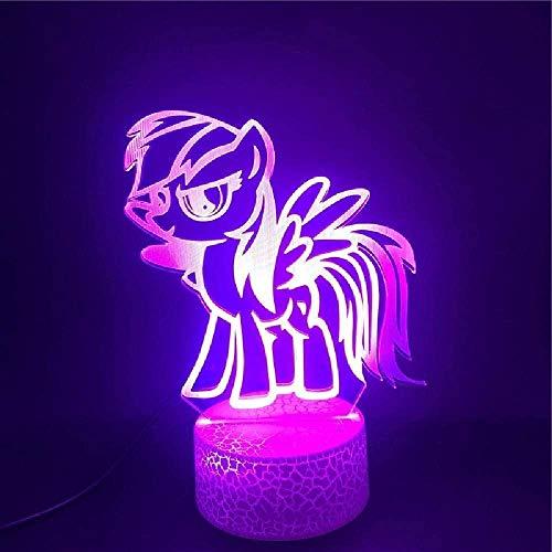 3D-Nachtlicht My Little Pony 3D-Illusionslampe USB 7 Arten von Farbwechsel Touch + Fernbedienung, verwendet für Schlafzimmer Dekoration Kinder Geschenke