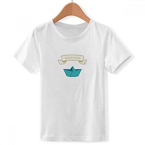 DIYthinker Jungen Papier falten Boot Ozean Liebe Sea Segeln Crew Hals Weißes T-Shirt Groß Mehrfarbig