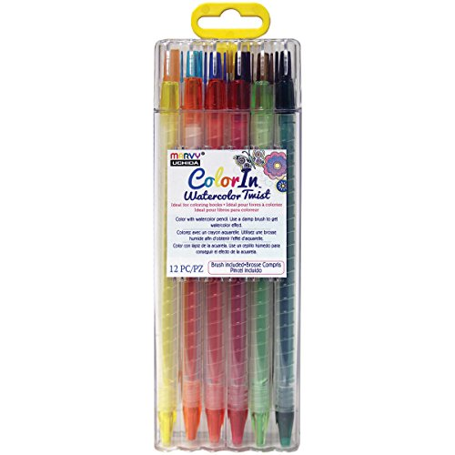 UCHIDA 12 Piece Watercolor Twist Pencil Set Art Supplies, Assorted