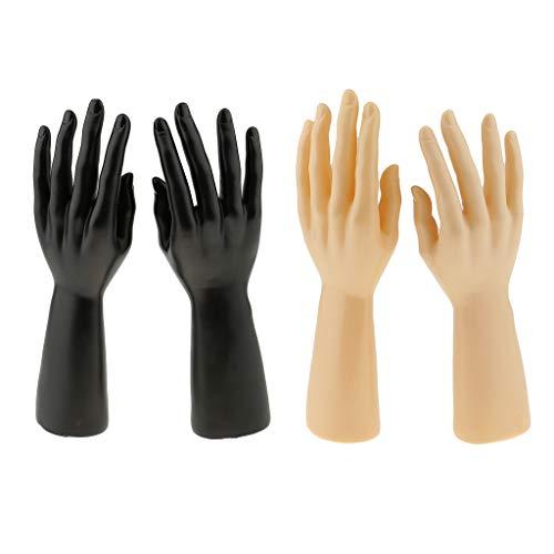 B Blesiya Männlicher Hand Schaufensterpuppe Hand-Modell Gliederpuppe Mannequin Hand für Schmuck Display (2 Paar)