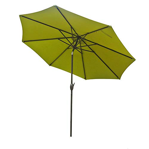 Patio Beach Market Umbrella Outdoor Umbrella with 8 Sturdy Ribs Adjustable Angle Waterproof Anti-UV Umbrella Summer Essential Outdoor Shade Umbrella (9ft, Green, Without Umbrella Stand)
