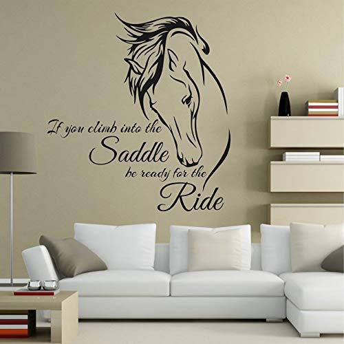 Etiqueta de la pared del caballo Cotizaciones si se sube a la silla de montar Esté listo para el paseo Arte equino Decoración de la sala Etiqueta de caballo 42x45cm